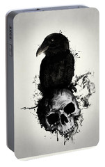 Raven And Skull Portable Battery Charger by Nicklas Gustafsson