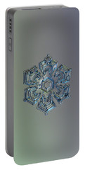 Portable Battery Charger featuring the photograph Snowflake Photo - Silver Foil by Alexey Kljatov