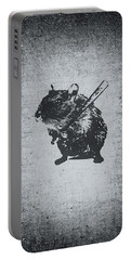 Angry Street Art Mouse  Hamster Baseball Edit  Portable Battery Charger by Philipp Rietz