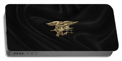 U.s. Navy Seals Trident Over Black Flag Portable Battery Charger