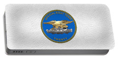 U. S. Navy S W C C - Special Boat Team 20   -  S B T 20   Patch Over White Leather Portable Battery Charger