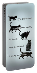 Black Cat Crossing Portable Battery Charger by Ivana Westin