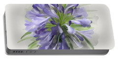 Blue Purple Flowers Portable Battery Charger by Ivana Westin