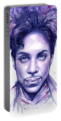 Prince Purple Watercolor Portable Battery Charger by Olga Shvartsur