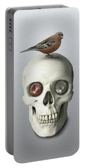Skull And Bird Portable Battery Charger by Ivana Westin