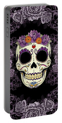 Vintage Sugar Skull And Roses Portable Battery Charger by Tammy Wetzel