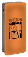 Getting Stronger Each Day Gym Motivational Quotes Poster Portable Battery Charger