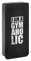 I Am A Gym Aholic Gym Motivational Quotes Poster Portable Battery Charger