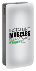 Installing Muscles Please Wait Gym Motivational Quotes Poster Portable Battery Charger