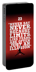 Never Say Never Gym Motivational Quotes Poster Portable Battery Charger