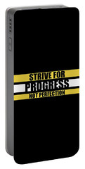 Strive For Progress Not Perfection Gym Motivational Quotes Poster Portable Battery Charger