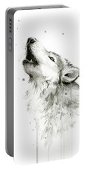 Howling Wolf Watercolor Portable Battery Charger