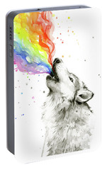 Wolf Rainbow Watercolor Portable Battery Charger by Olga Shvartsur