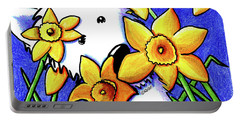 Kiniart Westie Daffodils Portable Battery Charger