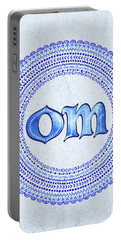 Portable Battery Charger featuring the painting Blue Om Mandala by Tammy Wetzel