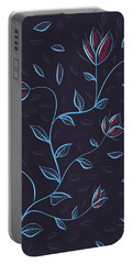 Glowing Blue Abstract Flowers Portable Battery Charger