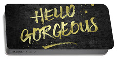Hello Gorgeous Gold Glitter Rough Black Grunge Portable Battery Charger