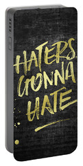 Haters Gonna Hate Gold Glitter Rough Black Grunge Portable Battery Charger