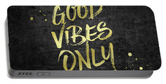 Good Vibes Only Gold Glitter Rough Black Grunge Portable Battery Charger