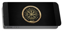 Vegvisir - A Magic Icelandic Viking Runic Compass - Gold On Black Portable Battery Charger
