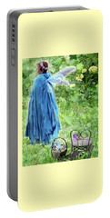 Portable Battery Charger featuring the digital art A Dragon Confides In A Fairy by Lise Winne