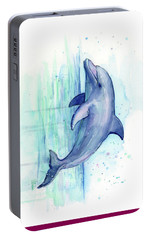 Dolphin Watercolor Portable Battery Charger by Olga Shvartsur