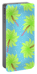 Green Flowers In The Wind Portable Battery Charger