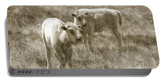 Portable Battery Charger featuring the photograph Pair Of Baby Buffalos by Rebecca Margraf