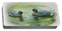 Portable Battery Charger featuring the painting Blue Ducks  by Ivana Westin