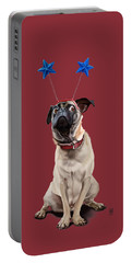 Portable Battery Charger featuring the drawing A Pug's Life Colour by Rob Snow