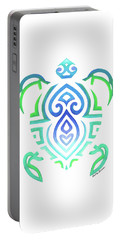 Tribal Turtle White Background Portable Battery Charger