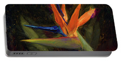 Portable Battery Charger featuring the painting Extravagance - Tropical Bird Of Paradise Flower by Karen Whitworth