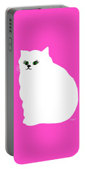 Portable Battery Charger featuring the painting Cartoon Plump White Cat On Pink by Marian Cates