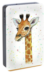 Baby Giraffe Watercolor With Heart Shaped Spots Portable Battery Charger by Olga Shvartsur