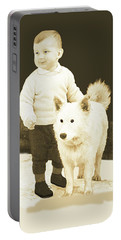 Portable Battery Charger featuring the painting Sweet Vintage Toddler With His White Mutt by Marian Cates