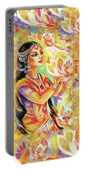 Pray Of The Lotus River Portable Battery Charger by Eva Campbell