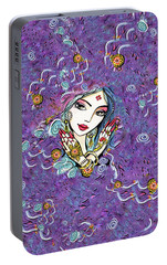 Portable Battery Charger featuring the painting Hands Of India by Eva Campbell