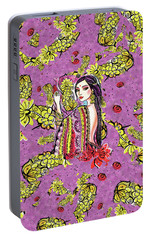 Portable Battery Charger featuring the painting Soul Of India by Eva Campbell