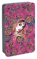 Portable Battery Charger featuring the painting Kumari by Eva Campbell