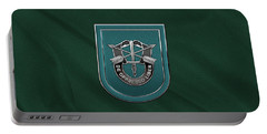 U. S.  Army 19th Special Forces Group - 19 S F G  Beret Flash Over Green Beret Felt Portable Battery Charger