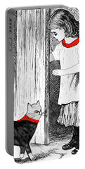 Portable Battery Charger featuring the painting Vintage Girl Lets In Her Gray Cat by Marian Cates