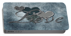 Portable Battery Charger featuring the digital art Silver Love by Linda Prewer