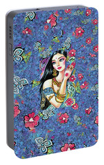Portable Battery Charger featuring the painting Gita by Eva Campbell