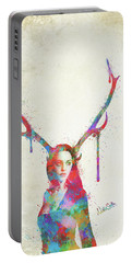 Portable Battery Charger featuring the digital art Song Of Elen Of The Ways Antlered Goddess by Nikki Marie Smith