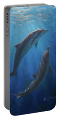 Portable Battery Charger featuring the painting Dolphin Dance - Underwater Whales by Karen Whitworth