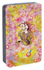 Portable Battery Charger featuring the painting Black Sea Mermaid by Eva Campbell
