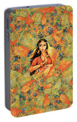 Portable Battery Charger featuring the painting Flame by Eva Campbell