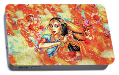 Portable Battery Charger featuring the painting Sun Ray Dance by Eva Campbell