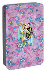 Portable Battery Charger featuring the painting Amrita by Eva Campbell