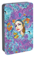 Portable Battery Charger featuring the painting The Veil Of Aish by Eva Campbell